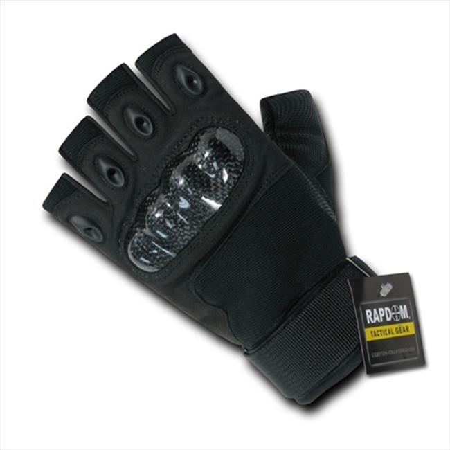 RapDom T42-PL-BLK-04 Half Finger Knuckle Glove - Black, Extra Large
