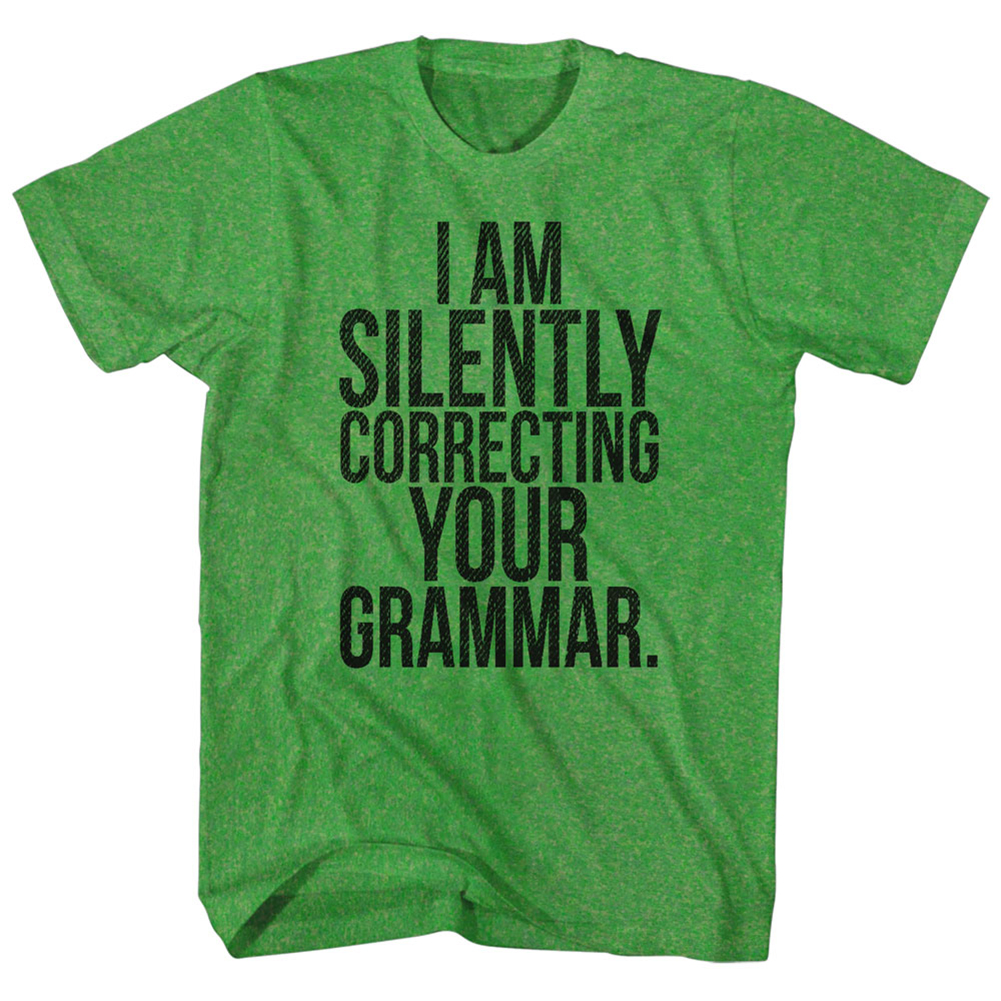 I Am Silently Correcting Your Grammar Funny Comical Joke Adult T-Shirt Tee