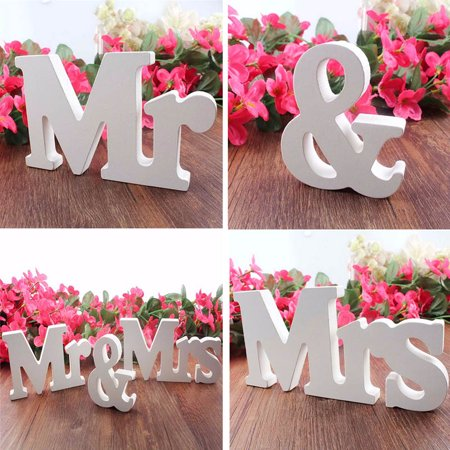 Mr & Mrs Wedding Letters White Wooden Mr and Mrs Table Sign Decoration