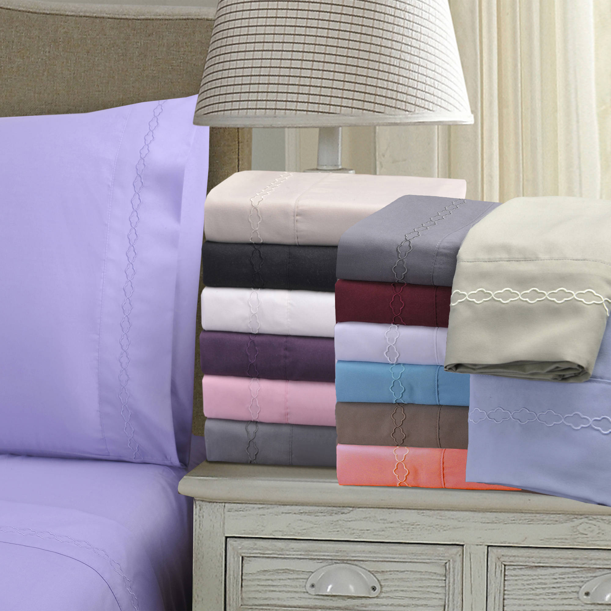 Superior Light Weight and Super Soft Brushed Microfiber, Wrinkle Resistant Pillowcase Set with Cloud Embroidery