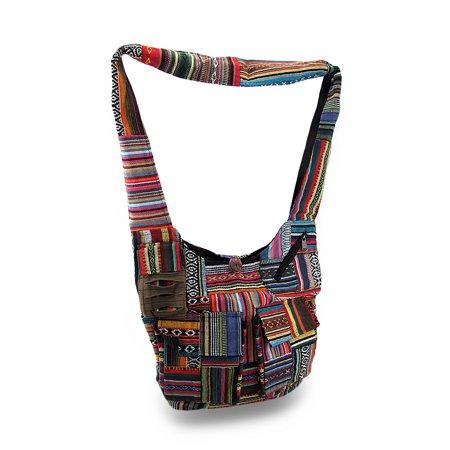 Colorful Boho Striped Cotton Tapestry Cross Body Bag w/Razor Cut Pocket (Boho Cross Body Bag)