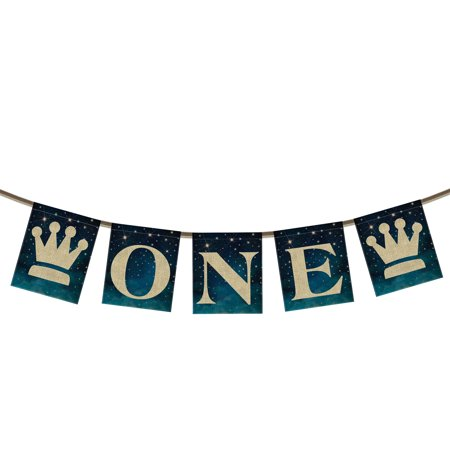ZKGK One Banner Bunting 1st First Birthday Banner,Crown Night Starry Sky Background Garland Flag Party Supplies for Baby Boy Girl First Birthday Photo Props - Baby Girl First Birthday Party Supplies