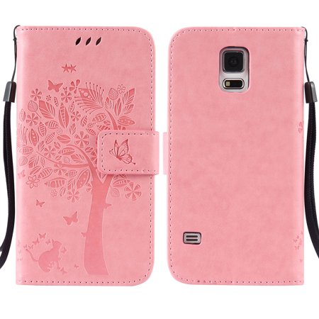 Galaxy S5 V Case, Samsung Galaxy S5 Phone Cases, Allytech [Embossed Cat & Tree] PU Leather Wallet Case Folio Flip Kickstand Cover with Card Slots for Samsung Galaxy S5/ Galaxy SV/ Galaxy S V, Pink (Wallet Phone Cases For Htc One Sv)