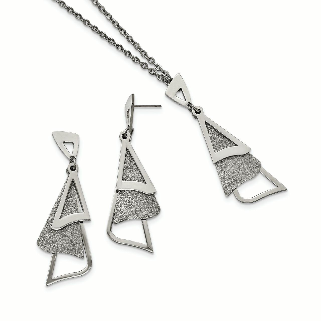 Stainless Steel Polished Laser Cut Necklace and Earring Set