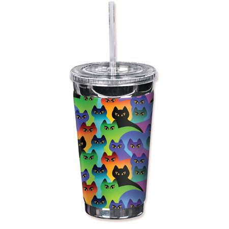 Mugzie Sweat Proof 16-Ounce To Go Tumbler with Insulated Wetsuit Cover - Cat Silhouettes - Cat Face Halloween Tumblr