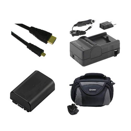 Sony HDR-CX430V Camcorder Accessory Kit includes: SDNPFV50NEW Battery, SDM-109 Charger, SDC-26 Case, HDMI6FMC AV & HDMI Cable