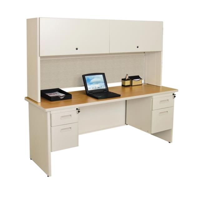 Marvel PRNT5DTMA_8563 Pronto 72'' Double File Desk with Flipper Door Cabinet Dark Neutral-Chalk by MARVEL