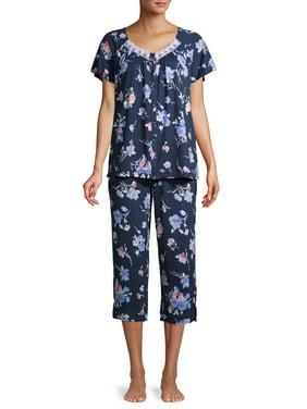 Secret Treasures Women's and Women's Plus Traditional Short Sleeve V-Neck Top and Capri Sleep Set