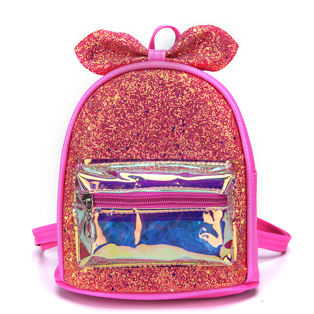 Lovely Bow Girls Backpacks Laser Splicing Sequins Kid Princess School Book Bags