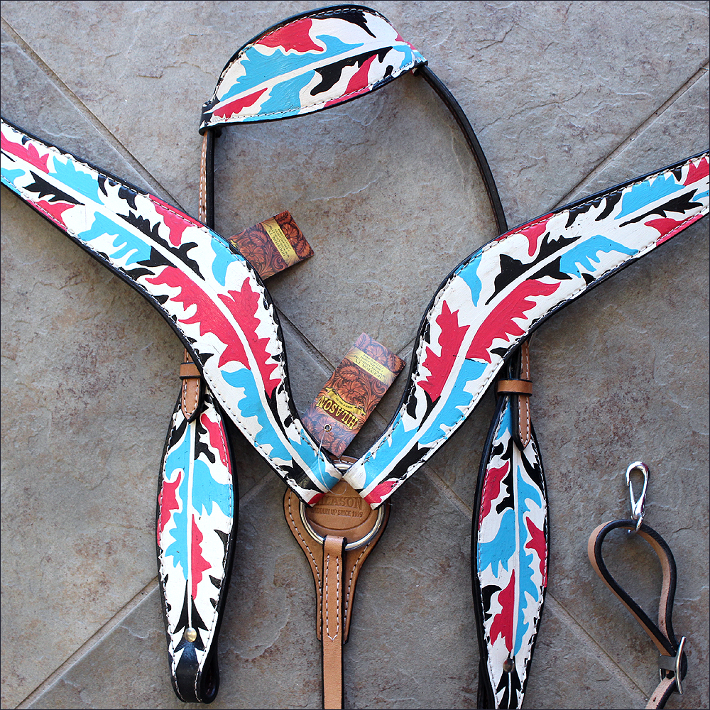 HILASON WESTERN AMERICAN LEATHER ONE EAR HORSE HEADSTALL BREAST COLLAR INDIAN