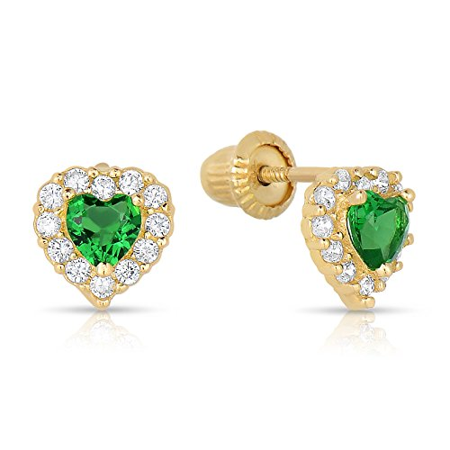 14K Yellow Gold Heart Simulated Birthstone Flower Stud Earrings For Girls Of All Ages