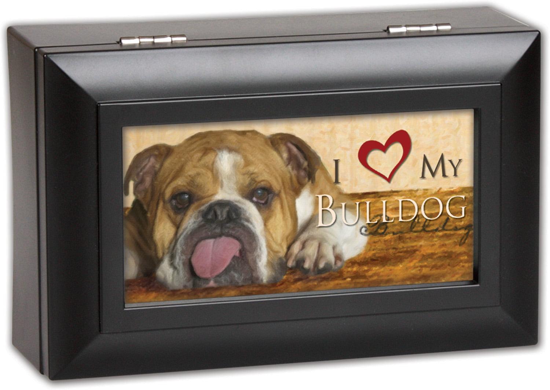 I Love My Bulldog Dog Cottage Garden Black Petite Jewelry Music Box Plays S... by