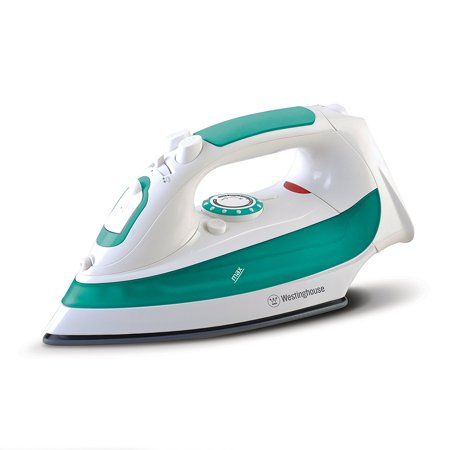 Westinghouse Steam Iron with 7.4 Ounce Water Tank, 1200 Watts, Comfort Grip, White with Green Accents