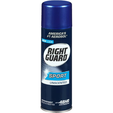 6 Pack - Right Guard Sport Unscented Aerosol Antiperspirant Spray 6 oz