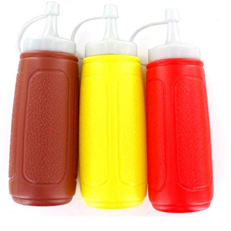 3 pc Squeezable Picnic Condiment 8 oz. Squeeze Dispenser Storage Bottles - Great for Ketchup Mustard and BBQ Sauce! 12 Oz Condiment Squeeze Bottles