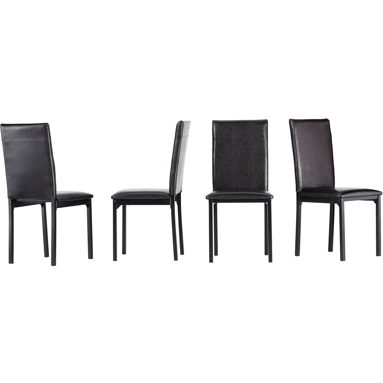 Declan Faux Leather Metal Chair Set of 4 Dark Brown Walmart