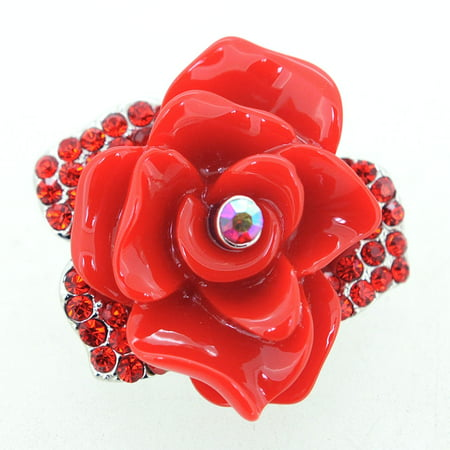 Ruby Red Rose Crystal Pin Brooch