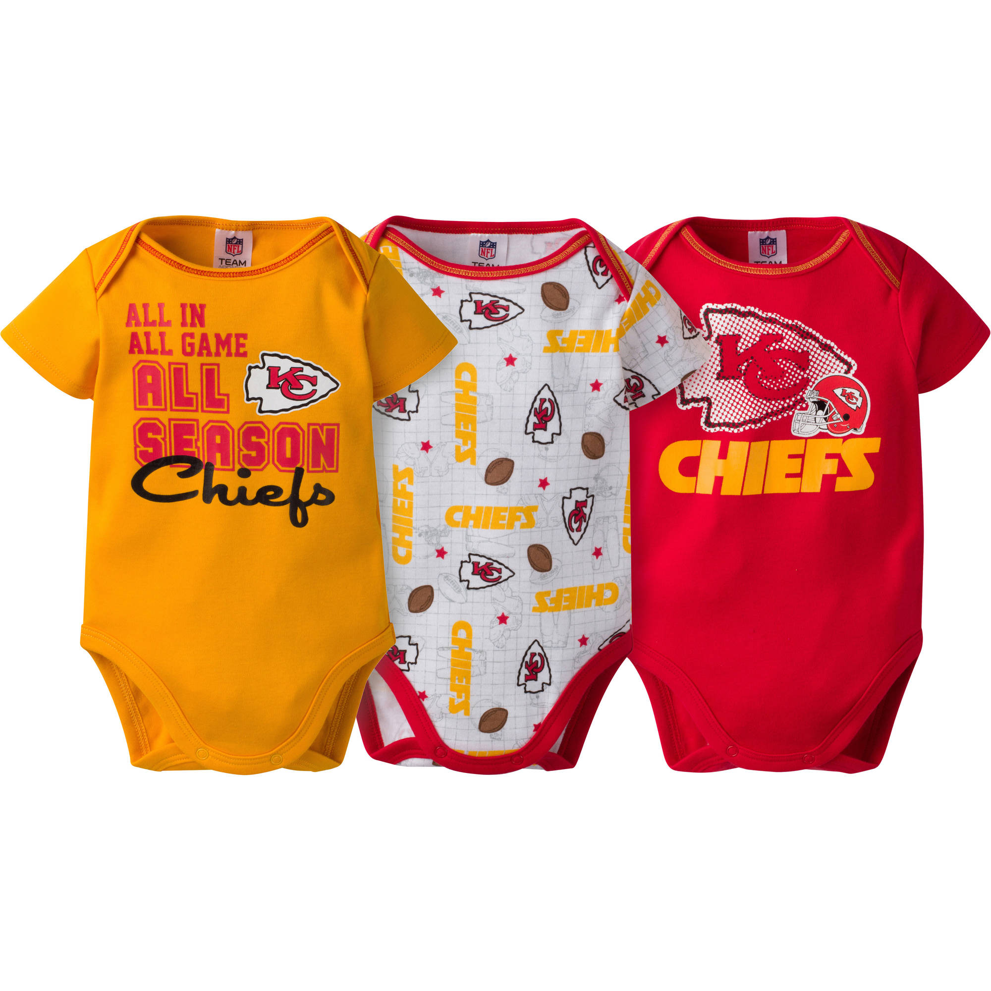 NFL Kansas City Chiefs Baby Boys Short Sleeve Bodysuit Set, 3-Pack