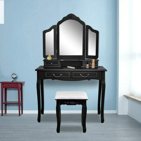 UBesGoo Makeup Beauty Vanity Hair Dressing Table Set Tri-Folding Mirror, Upholstered Stool Seat, 4 Drawer Storage Organizers - Black ()