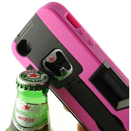 PINK BLACK BOTTLE OPENER SOFT RUBBER SKIN HARD CASE STAND WALLET FOR iPHONE 5 5s