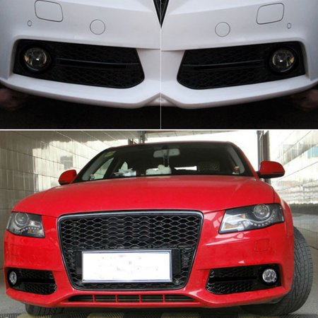 Pair Glossy Standard Style Fog Light Cover Grille Grill Fit 09-11 Audi A4 B8 - image 6 de 9