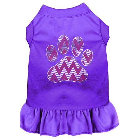 Candy Cane Chevron Paw Rhinestone Dog Dress Purple Med (12) ()