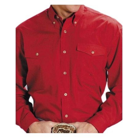 Roper Western Shirt Mens L/S Button Solid Red 03-001-0365-0022