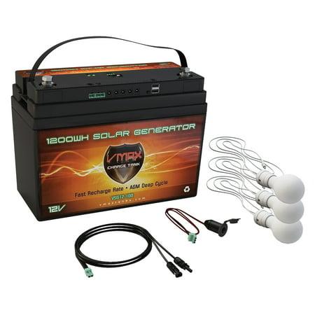 - VMAX VSG12-100L3 Portable Solar Generator Kit 1,300Wh 12V AGM Rechargeable Solar Battery Backup w 3 LED 7watt Lights USB Charger Controller Cigarette Plug Camping