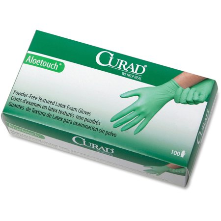 Curad Aloetouch Latex Exam Gloves - X-Small Size - Latex - Green - Durable, Powder-free, Textured - For Healthcare Working - 100 / Box