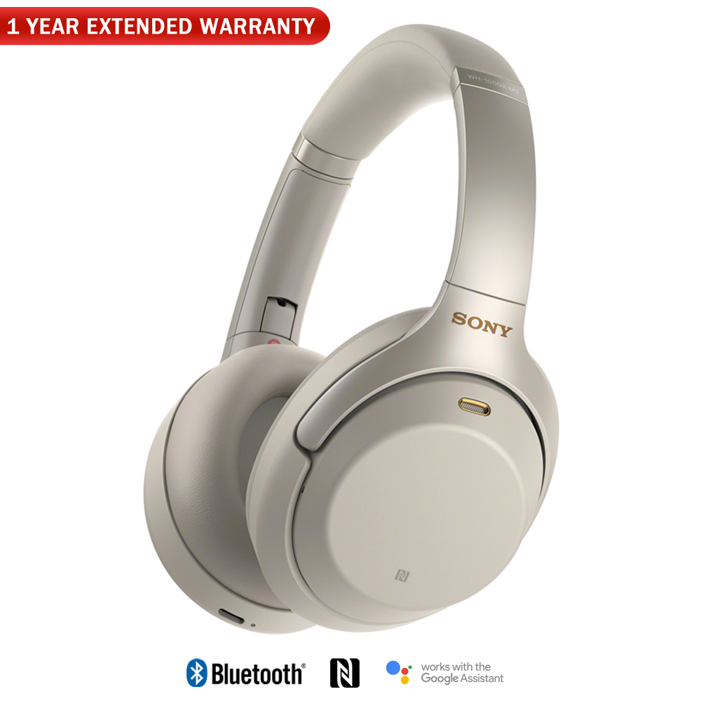 Sony WH1000XM3/S Premium Noise Cancelling Wireless Headphones with Microphone (Silver) + 1 Year Extended Warranty