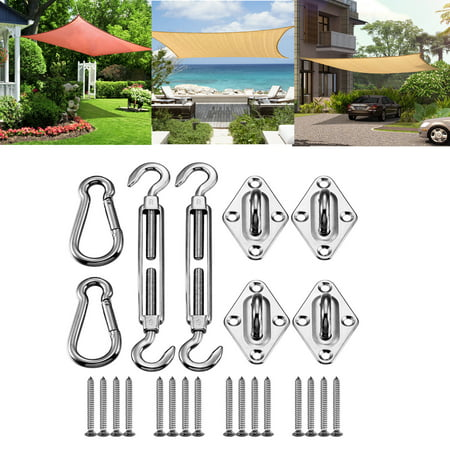 Mllieroo 316 Marine Grade Shade Sail Hardware Kit 8 Inch for Rectangle and Square Stainless Steel Sun Shade Sail Hardware 24Pcs,Silver ()