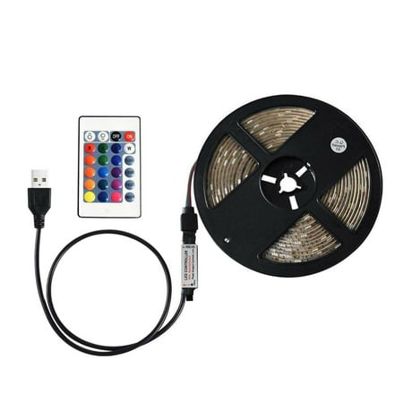 DC5V 15W 5M 300 LEDs RGB Strip Light with Remote Control USB Powered Operated Brightness Adjustable Dimmable 16 Colors Multi-colored Changing Flash/ Strobe/ Fade/ Smooth 4 Lighting Modes IP65 Water Re (16 High Four Light)