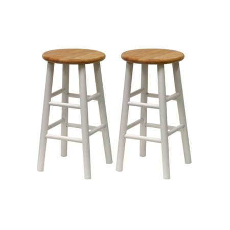 Magnificent Winsome Wood Tabby 24 Beveled Seat Stools 2Pc Multiple Finishes Pabps2019 Chair Design Images Pabps2019Com