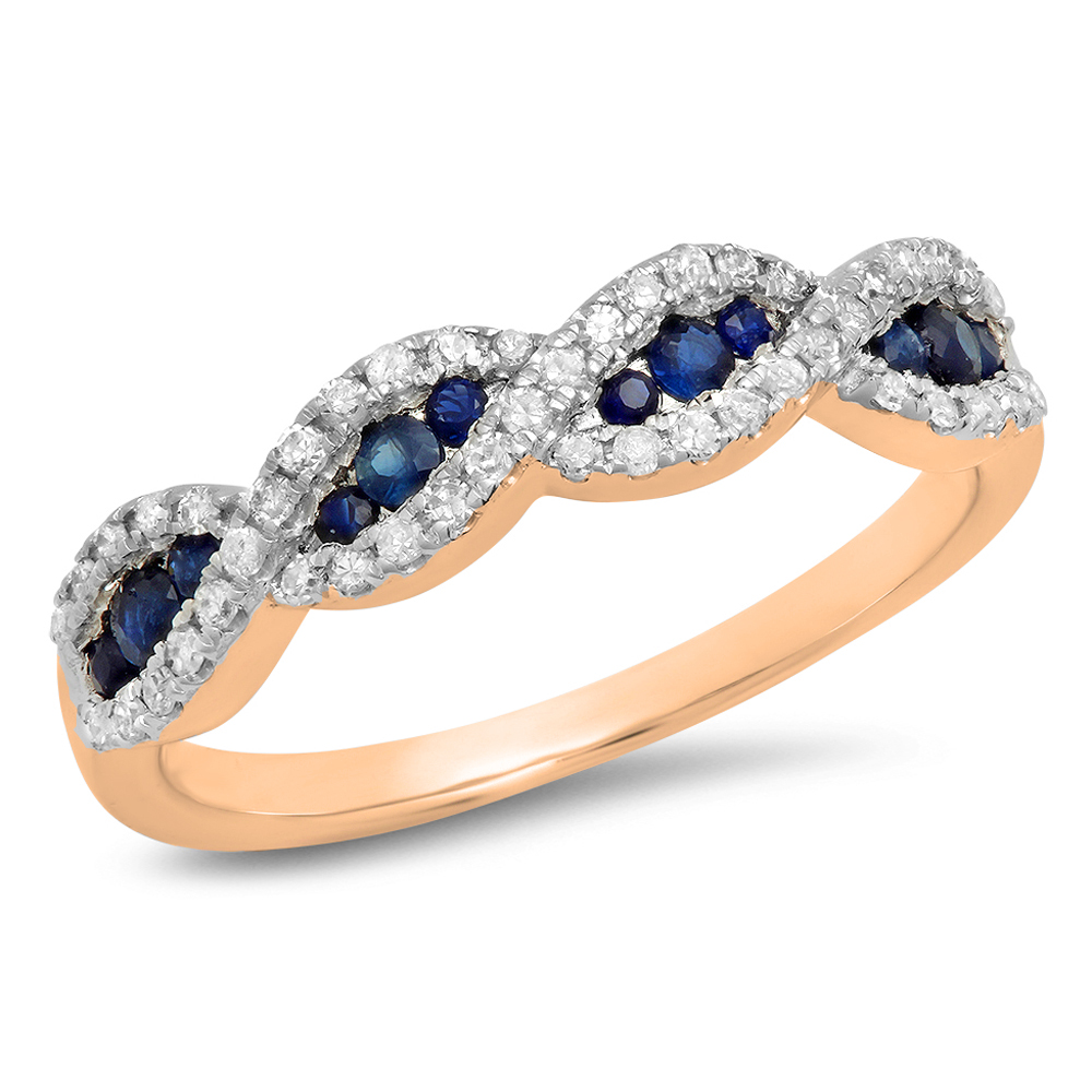 0.35 Carat (Ctw) 18K Rose Gold Round Blue Sapphire & White Diamond Ladies Bridal Stackable Anniversary Wedding Band Swir