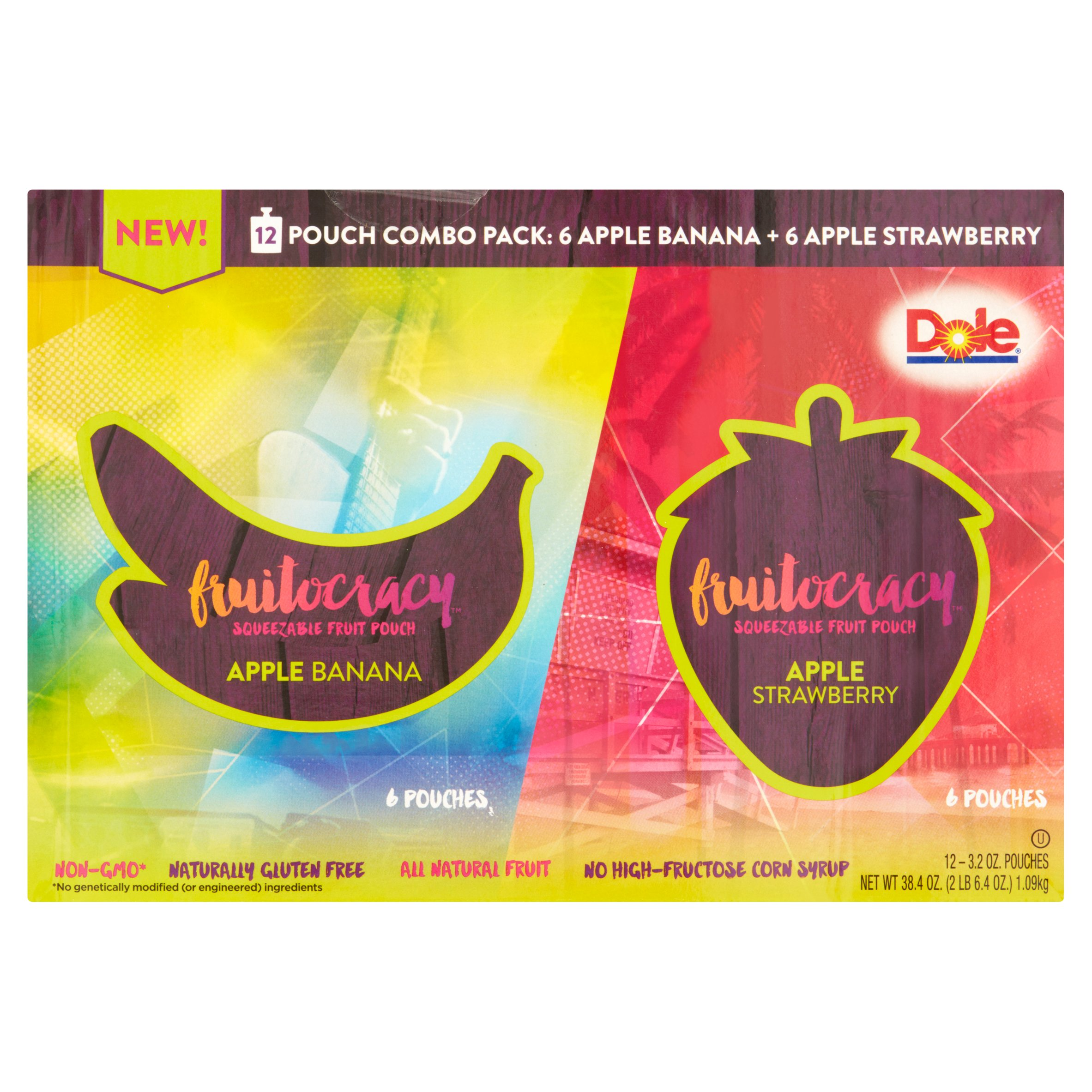Dole Fruitocracy Squeezable Fruit Pouch Combo Pack, 3.2 oz, 12 count