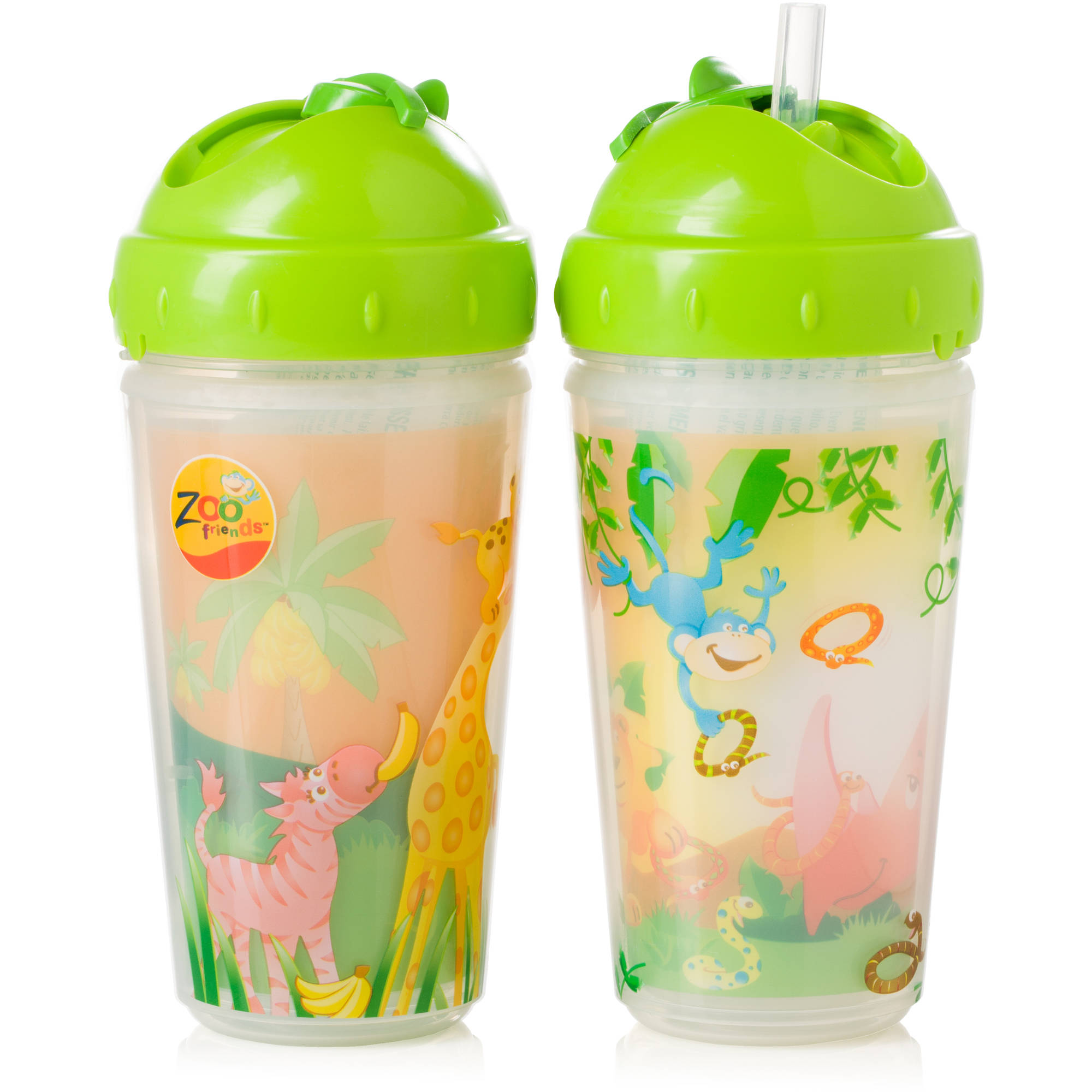 Evenflo Zoo Friends Insulated Straw Cup, 2-Pack, Boy, BPA-Free