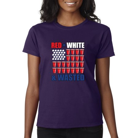 New Way 160 - Women's T-Shirt Red White Wasted Beer Pong Usa