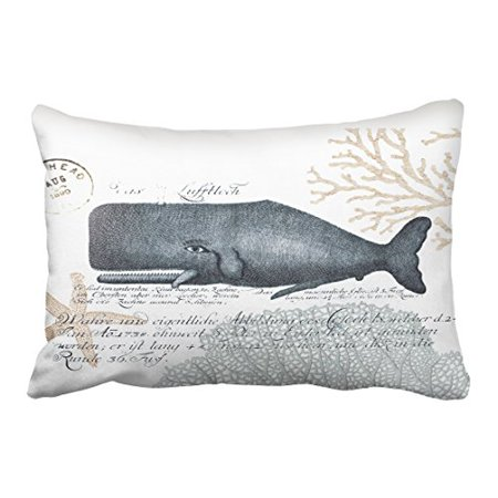 WinHome Rectangl Throw Pillow Covers Seaside Whale Collage In Navy And Sand Pillowcases Polyester 20 x 30 Inch With Hidden Zipper Home Sofa Cushion Decorative Pillowcase
