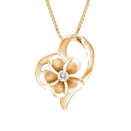 14k Rose Gold Plated Sterling Silver CZ Plumeria Open Heart Necklace with 18