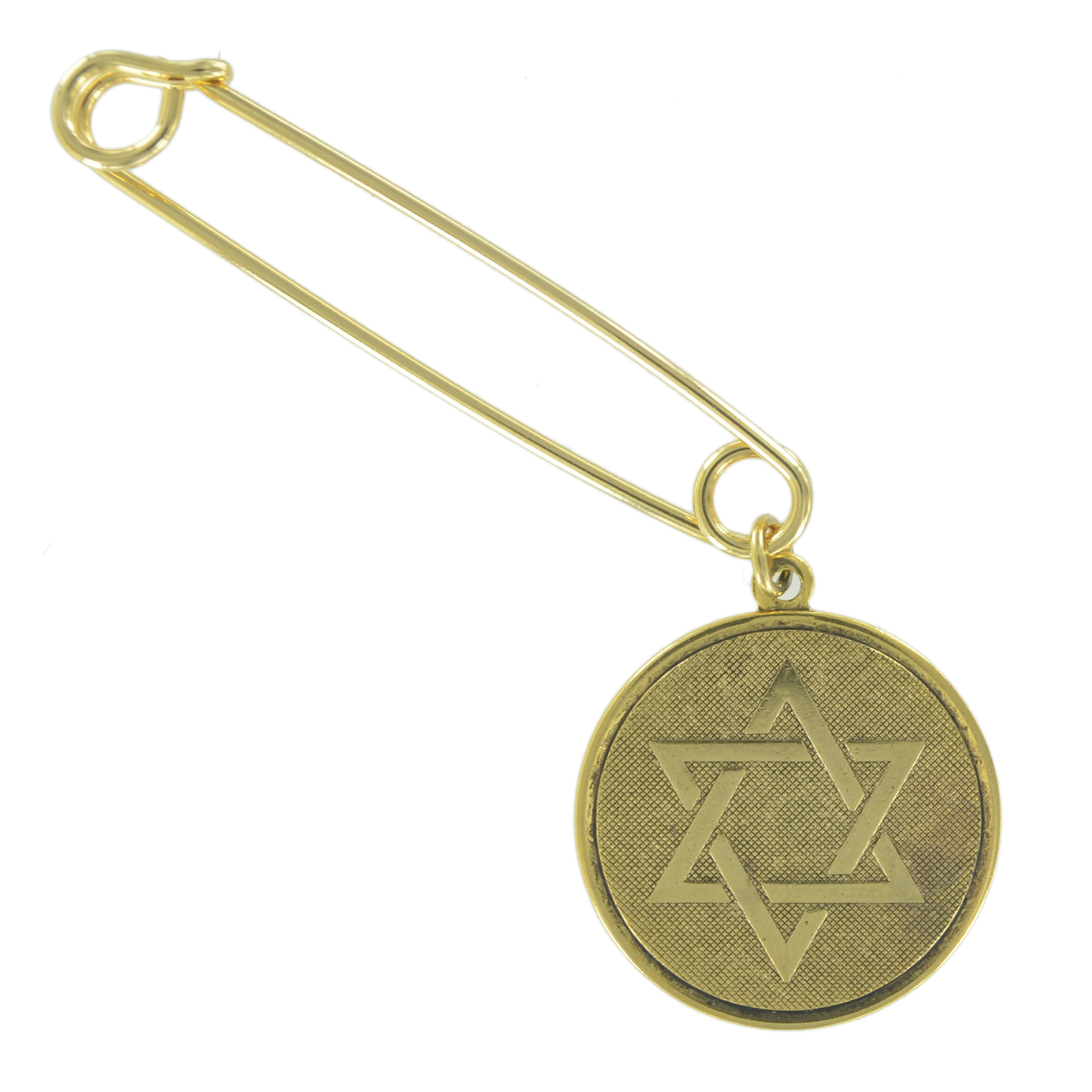 """Safety Pin Brooch 2"""" Gold Tone Jewish Hebrew Star Of David Coin Charm Dangle End by Ky & Co"""