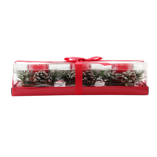Better Homes and Gardens Pine Ring Glass Votive Set, Red, 3pc