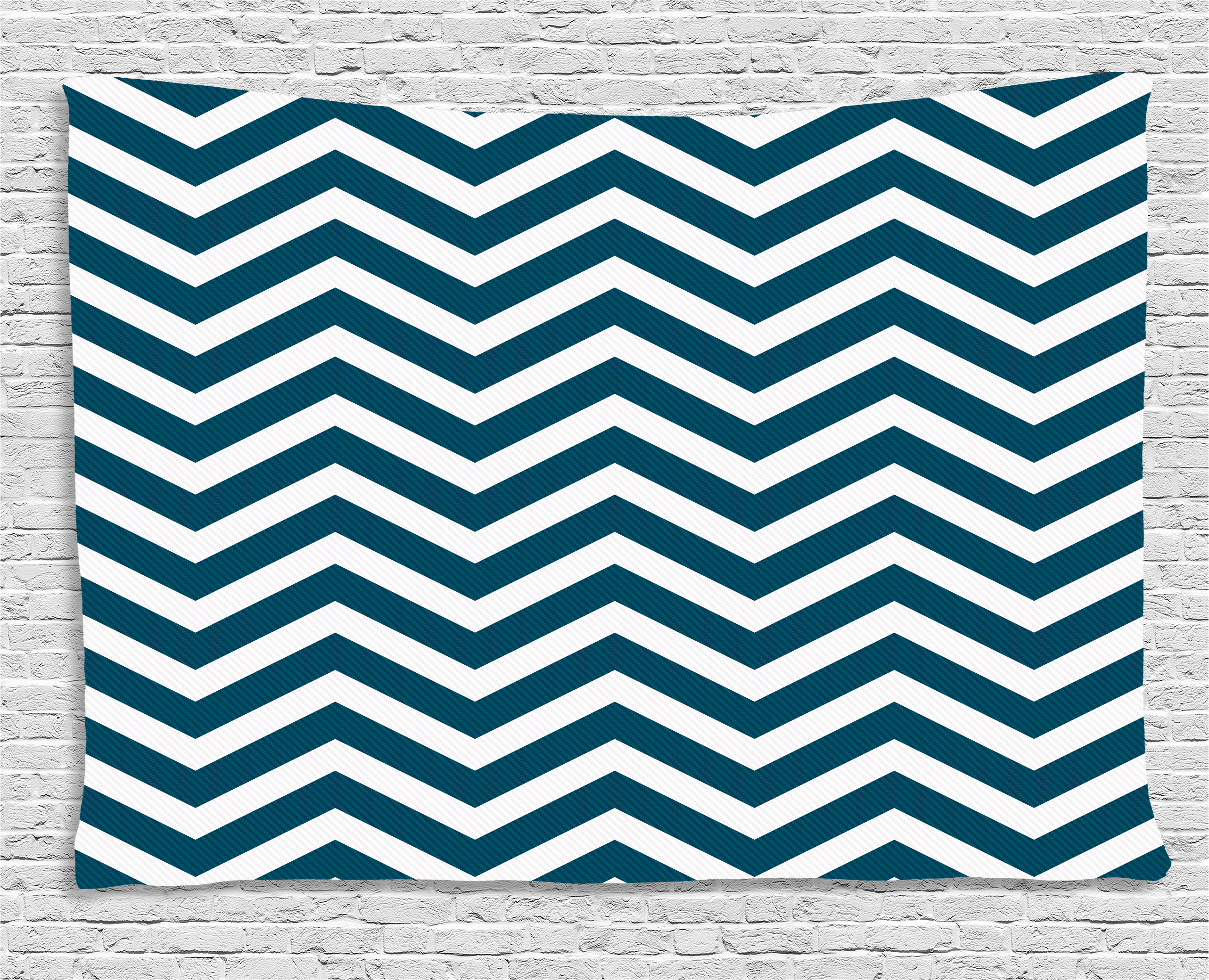 Navy Tapestry, Zigzag Chevron Geometrical Design Lines Sea Waves Inspired  Decor Art Print, Wall