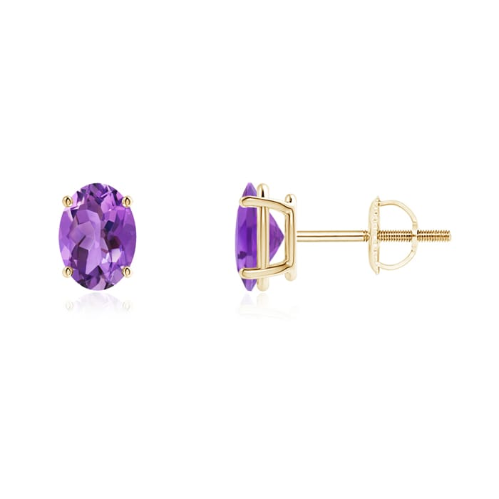 Angara Womens Amethyst Stud Earrings in Yellow Gold nnlcda5w