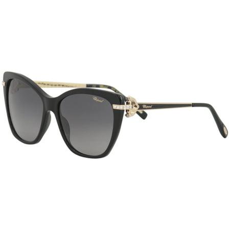 Chopard Women's SCH232S SCH/232/S 700P Black Cat Eye Polarized Sunglasses (Chopard Sunglasses For Women)