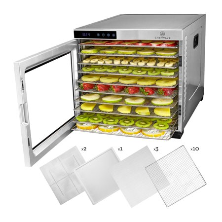 ChefWave Secco Pro Food Dehydrator with 10 Drying Racks (Stainless