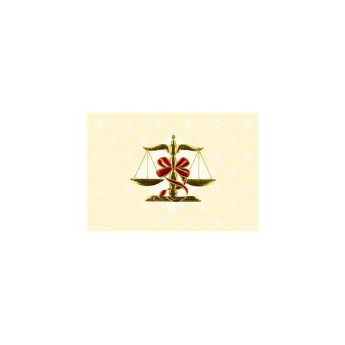 Birchcraft Studios 2662 Scales of Justice - Gold Lined Envelope with Ecru Lining - Red Ink - Pack of 25