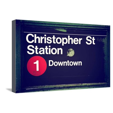 Subway Station Sign, Christopher Street Station, Downtown, Manhattan, NYC, White Frame Stretched Canvas Print Wall Art By Philippe -