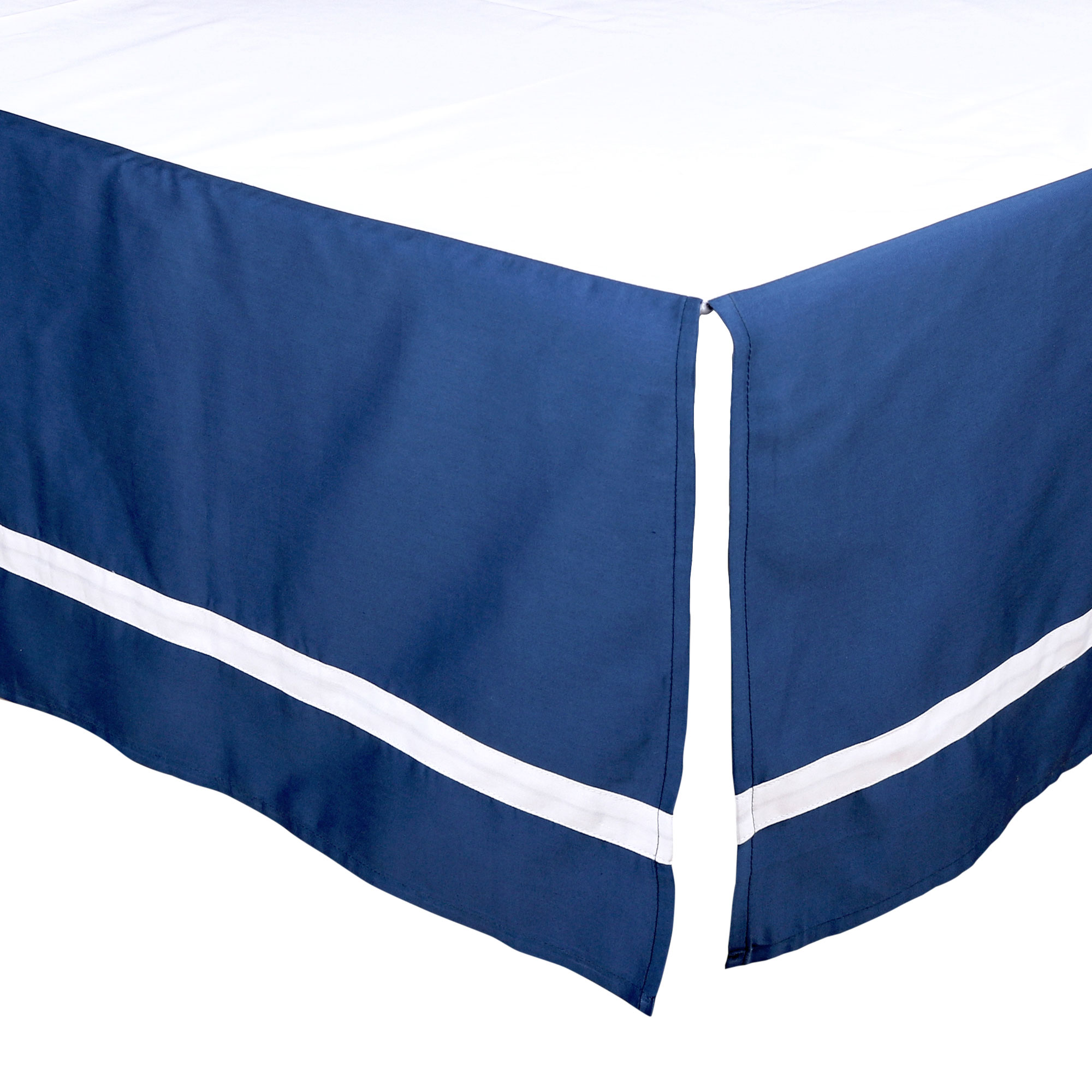 The Peanut Shell Tailored Crib Skirt - Solid Navy Blue with White Trim - 100% Cotton Sateen 14 Inch Drop, Standard Crib