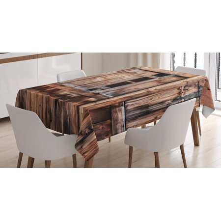Rustic Tablecloth, Abandoned Damaged Oak Barn Door with Iron Hinges and Lateral Cracks Knock Theme, Rectangular Table Cover for Dining Room Kitchen, 52 X 70 Inches, Light Rosewood, by Ambesonne