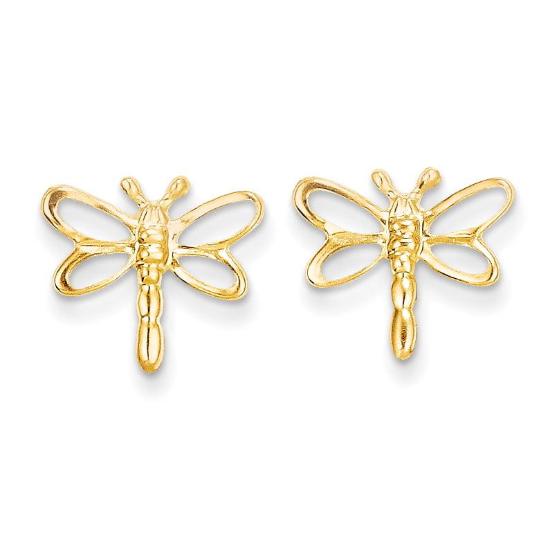 14k Madi K CZ Childrens Dragonfly Post Earrings